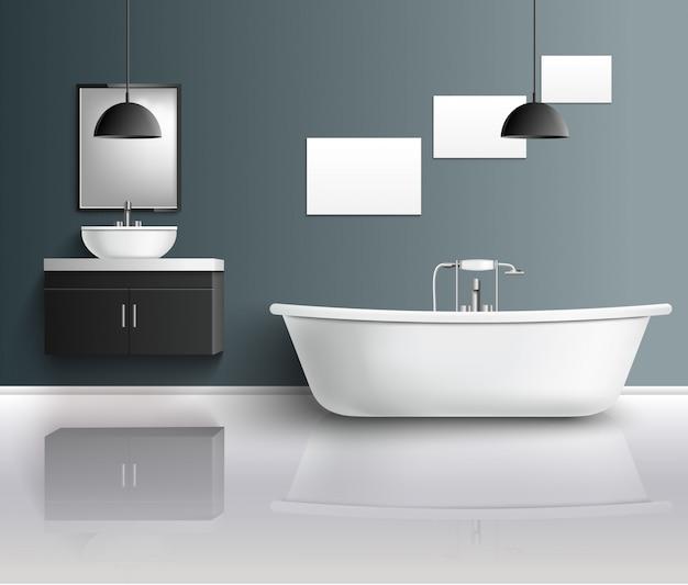 Composition intérieure réaliste de la salle de bain Vecteur gratuit