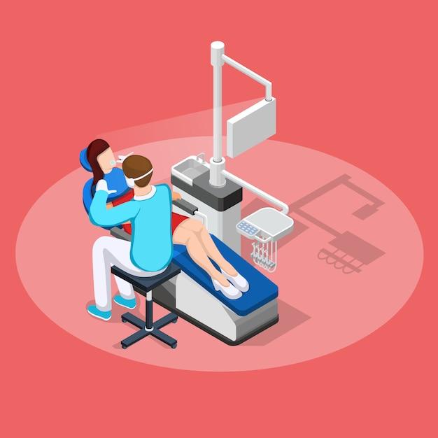 Composition isométrique d'arrêt dentaire Vecteur gratuit