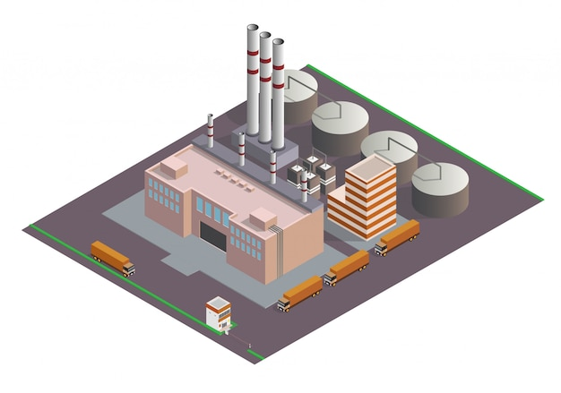 Composition Isométrique Des Bâtiments Industriels Vecteur Premium