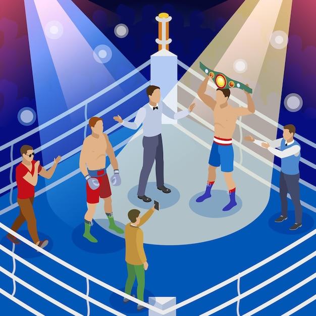 Composition Isométrique De La Boîte Avec Vue Sur Le Ring De Boxe Avec Des Personnages Humains De L'arbitre Des Boxeurs Et Des Hôtes Vecteur gratuit