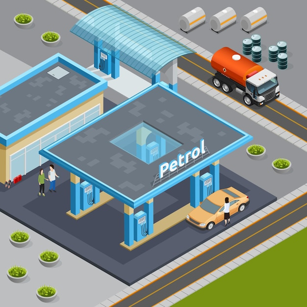 Composition Isométrique Avec Camion Pour Le Transport De Pétrole Près De La Station-service 3d Vecteur gratuit