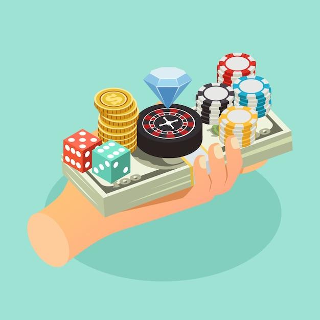 Composition Isométrique De Casino Vecteur gratuit
