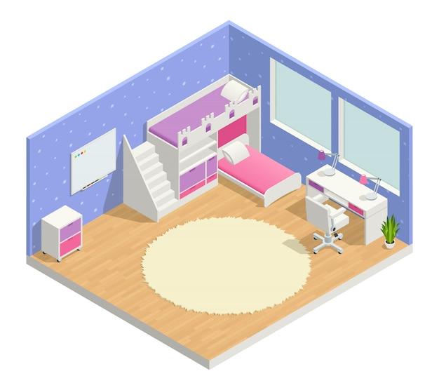 Composition isométrique de la chambre des enfants avec bureau et tableau Vecteur gratuit