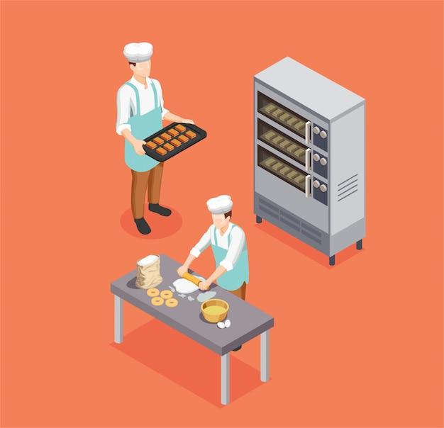Composition Isométrique De Chef De Confiserie Vecteur gratuit