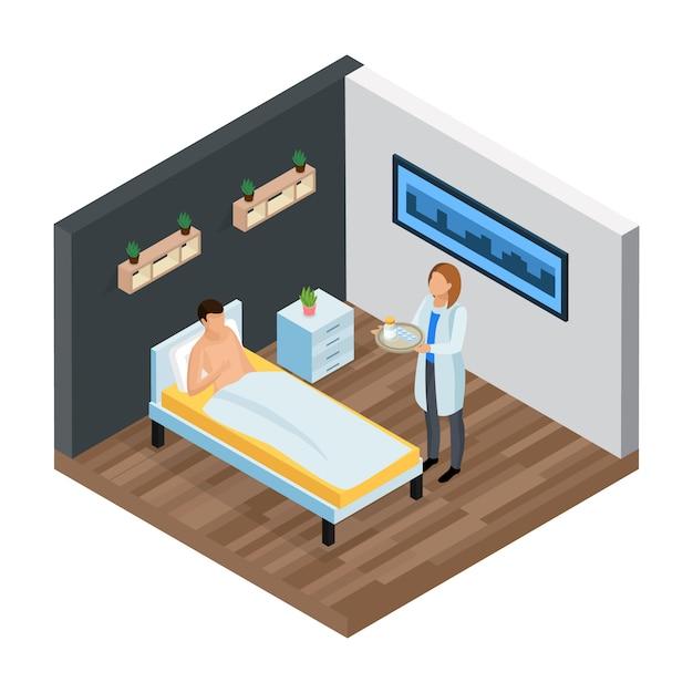 Composition Isométrique De La Clinique Probiotique Vecteur gratuit
