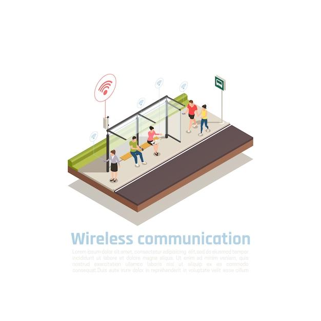 Composition Isométrique De Communication Sans Fil Avec Des Personnes Utilisant Des Gadgets Pour La Connexion Internet à L'arrêt Des Transports Publics équipé De Wifi Vecteur gratuit