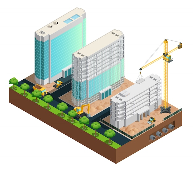 Composition isométrique de construction de trois bâtiments modernes à plusieurs étages sur le vecteur de fond blanc Vecteur gratuit