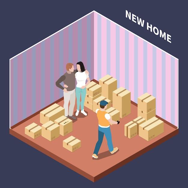 Composition Isométrique Avec Couple Déménageant Dans Une Nouvelle Maison Avec Des Boîtes En Carton 3d Illustration Vectorielle Vecteur gratuit