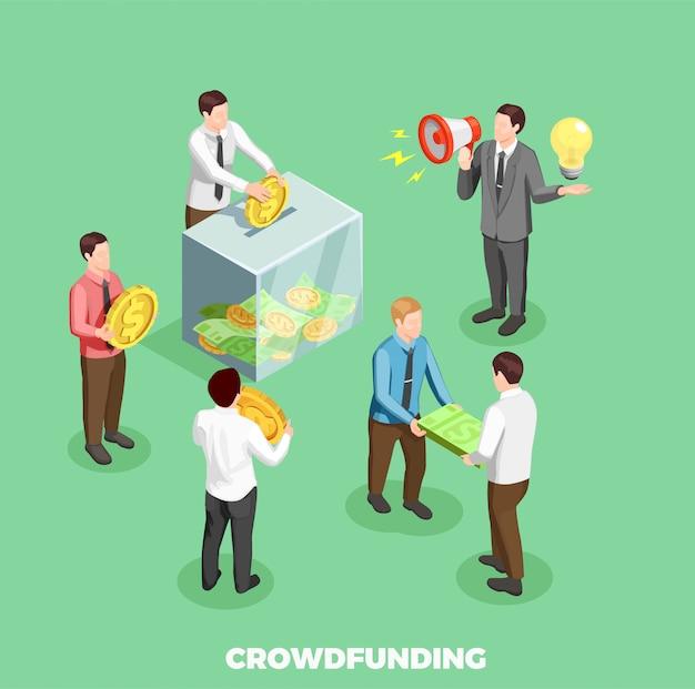 Composition Isométrique De Crowdfunding Vecteur gratuit