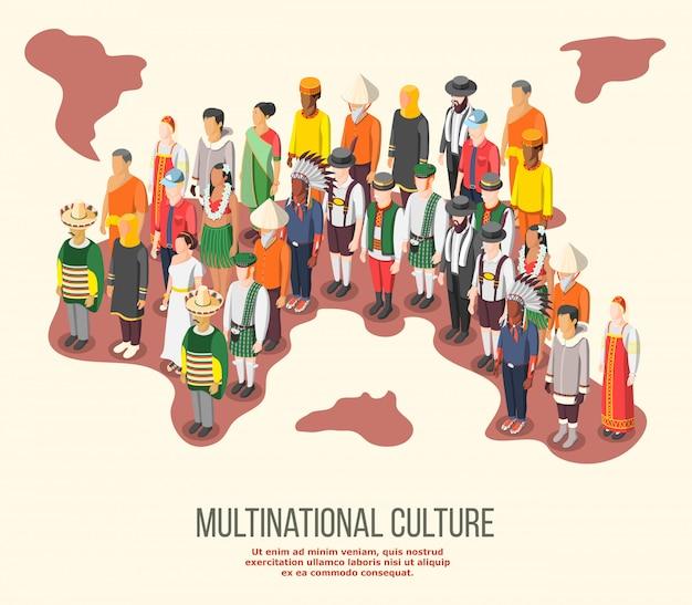 Composition Isométrique De La Culture Multinationale Vecteur gratuit