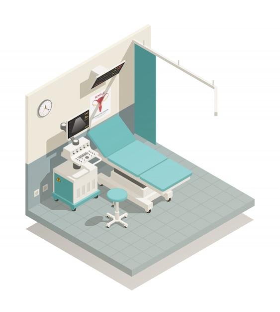 Composition isométrique du cabinet de gynécologie Vecteur gratuit