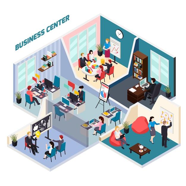 Composition isométrique du centre d'affaires Vecteur gratuit