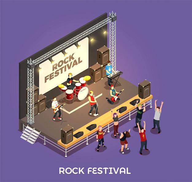 Composition isométrique du festival de rock Vecteur gratuit