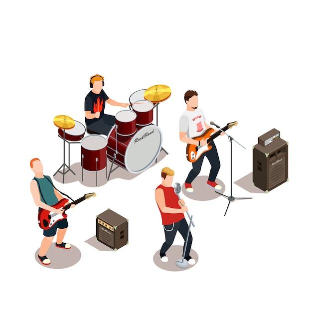 Composition isométrique du groupe rock Vecteur gratuit