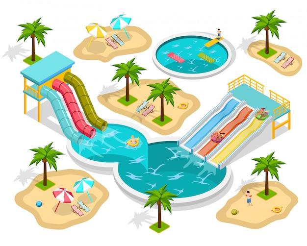 Composition isométrique du parc aquatique Vecteur gratuit