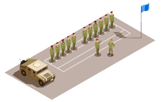 Composition isométrique du service de la division militaire Vecteur gratuit