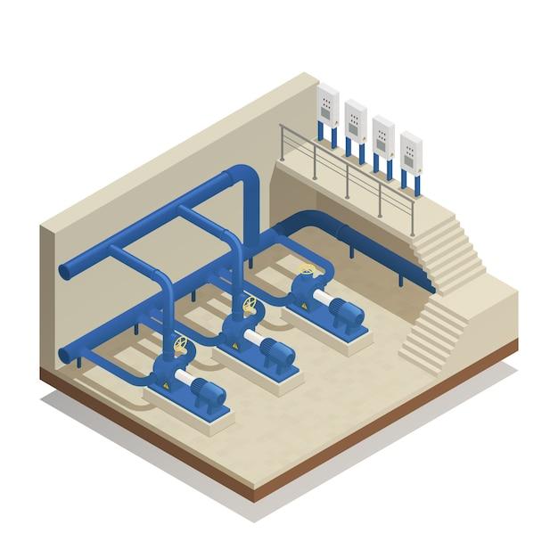 Composition Isométrique Du Système De Nettoyage à L'eau Vecteur gratuit