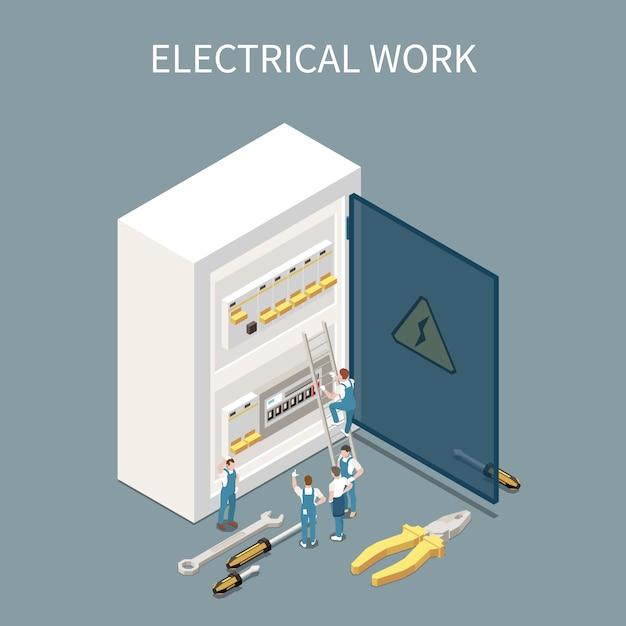 Composition Isométrique De L'électricité Avec Des Images Conceptuelles Du Tableau De Distribution électrique Et De Petits Caractères Des Travailleurs Vecteur gratuit