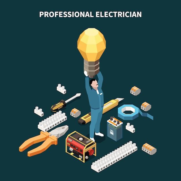 Composition Isométrique De L'électricité Avec Des Images Conceptuelles D'outils Professionnels D'équipement électrique Et De Lampe De Maintien De Personnage Masculin Vecteur gratuit