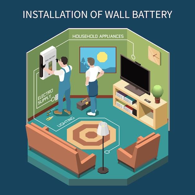 Composition Isométrique De L'électricité Avec Vue Intérieure De La Salle Avec Deux Travailleurs Installant L'alimentation électrique Au Mur Vecteur gratuit