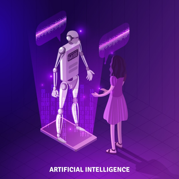 Composition isométrique de l'intelligence artificielle Vecteur gratuit
