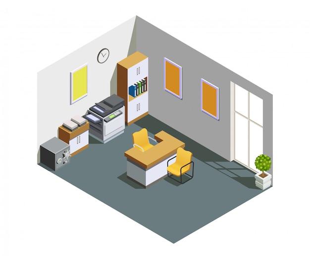 Composition isométrique intérieure de bureau de banque Vecteur gratuit