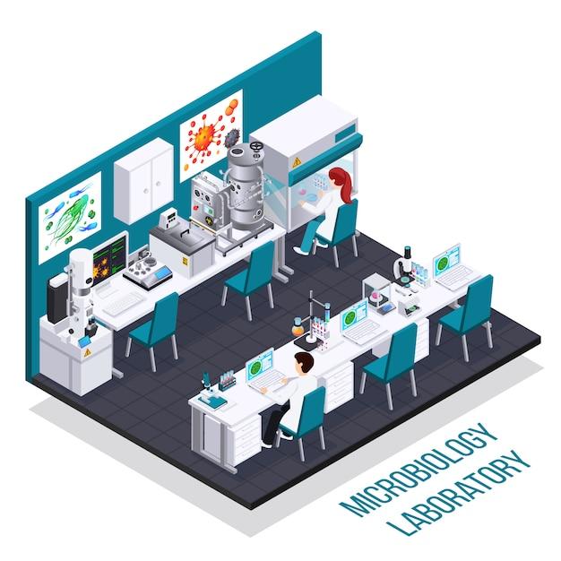 Composition Isométrique De Laboratoire De Microbiologie Avec Dispositif De Microscopie électronique à Bioréacteur Pour L'ensemencement De Bactéries Et D'autres équipements Scientifiques Vecteur gratuit