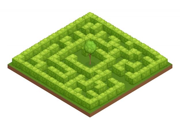 Composition Isométrique De Labyrinthe De Jardin Vecteur gratuit