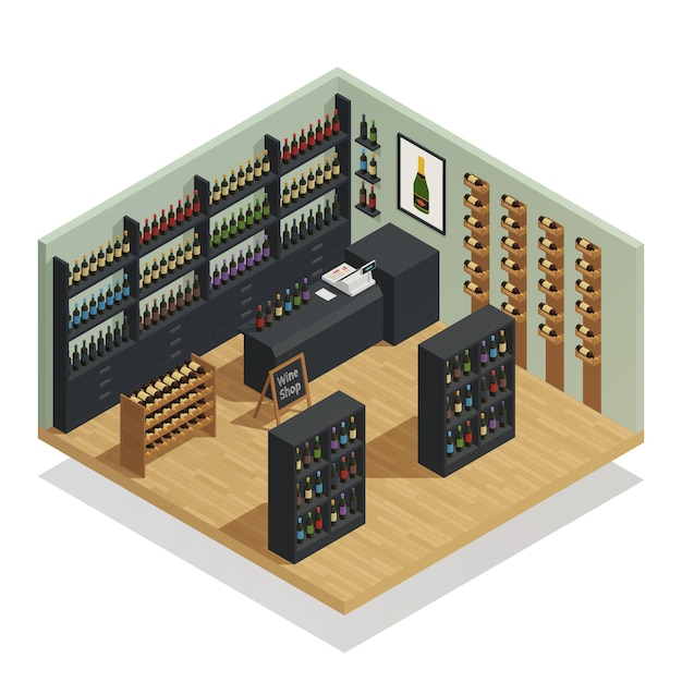 Composition isométrique de magasin de vin Vecteur gratuit
