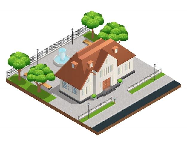 Composition isométrique avec maison de banlieue et grande cour propre avec arbres de fontaine et bancs Vecteur gratuit