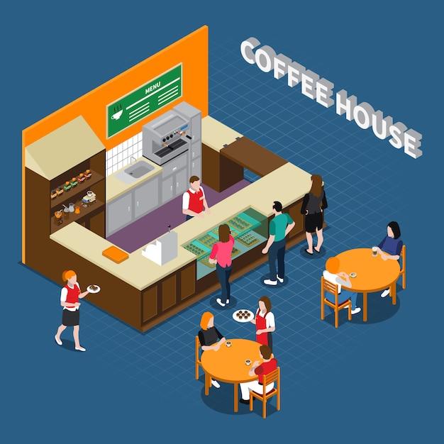 Composition isométrique de la maison du café Vecteur gratuit