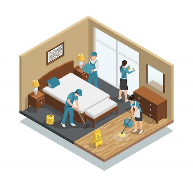 Composition isométrique de nettoyage de maison Vecteur gratuit