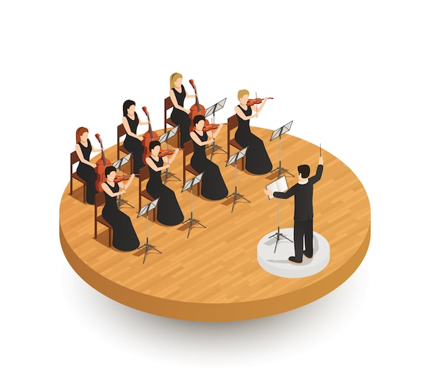 Composition isométrique d'orchestre Vecteur gratuit