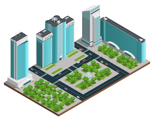 Composition isométrique de paysage urbain moderne avec de nombreux bâtiments à étages et des espaces verts Vecteur gratuit