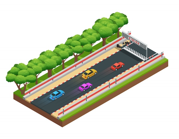 Composition isométrique des pistes de course automobile avec parcours de jeu Vecteur gratuit