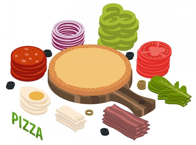 Composition isométrique de pizza Vecteur gratuit