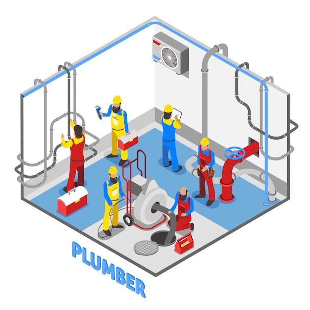 Composition isométrique plombier Vecteur gratuit