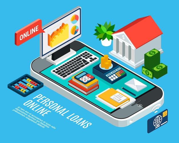 Composition Isométrique Des Prêts Avec Les Services Bancaires Mobiles Et Les Documents Sur L'écran Du Smartphone Vecteur gratuit