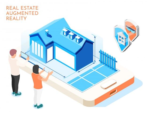 Composition Isométrique De Réalité Augmentée Immobilier Avec Couple Amoureux Imaginer Leur Illustration De La Vie Future Vecteur gratuit