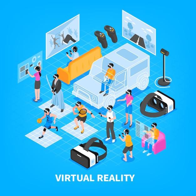 Composition Isométrique De Réalité Virtuelle Vecteur gratuit