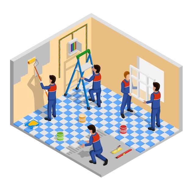 Composition isométrique de rénovation Vecteur gratuit