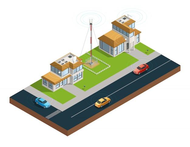 Composition isométrique de la rue avec des dispositifs dans la tour des maisons et des voitures connectées Vecteur gratuit