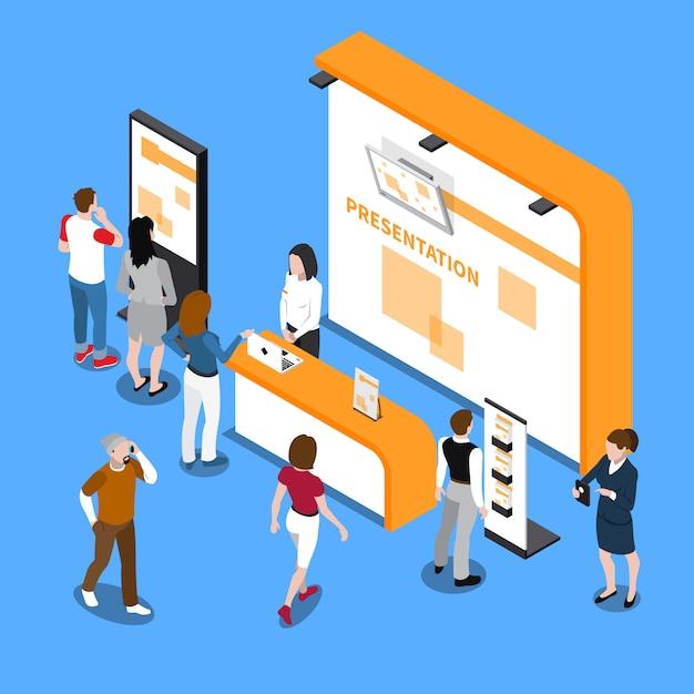 Composition Isométrique Des Supports De Promotion Vecteur gratuit