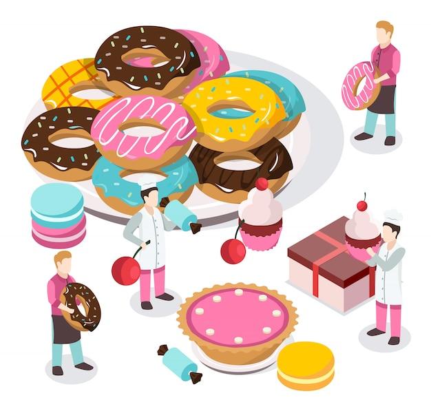 Composition isométrique sweet shop Vecteur gratuit