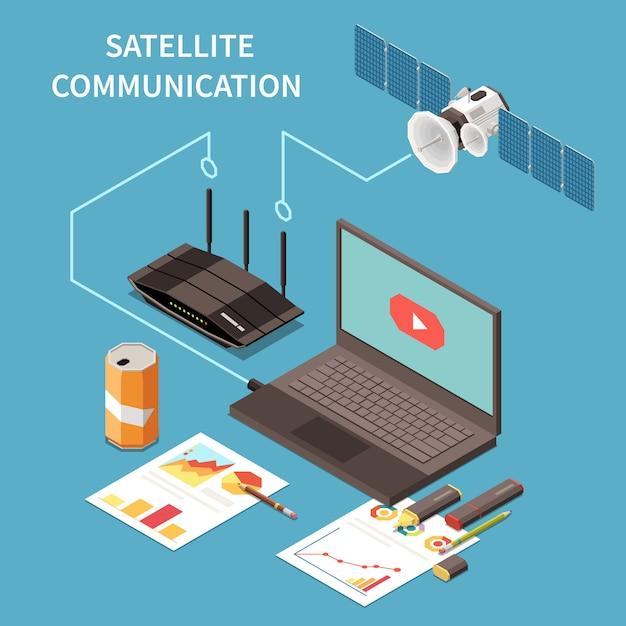 Composition Isométrique Des Télécommunications Avec Un Routeur Satellite Pour Ordinateur Portable Vecteur gratuit