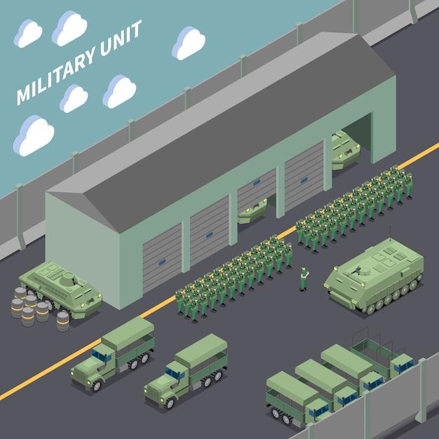 Composition Isométrique De L'unité Militaire Avec Des Camions De L'armée, Des Véhicules De Combat D'infanterie Et Des Soldats Dans Les Rangs Vecteur gratuit
