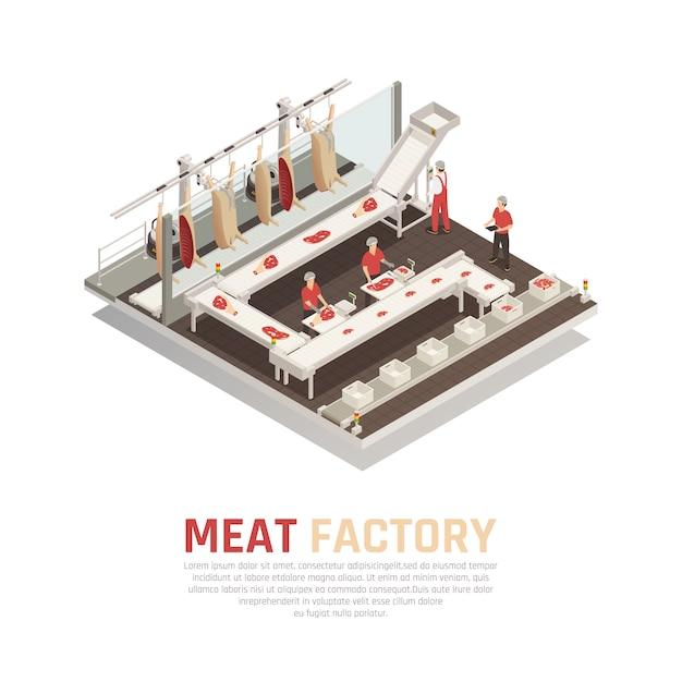 Composition isométrique de l'usine de viande Vecteur gratuit