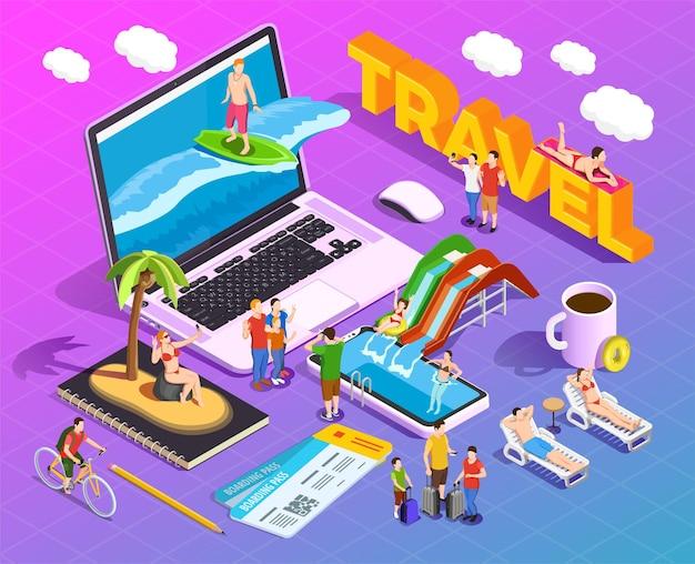 Composition Isométrique De Voyage Sur Les Personnes En Dégradé Pendant Les Divertissements De Vacances Sur Les écrans Des Appareils Mobiles Vecteur gratuit