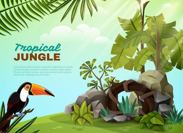 Composition de jardin de toucan de jungle tropicale poster Vecteur gratuit