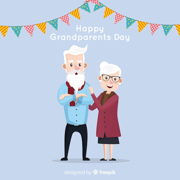 Composition de jour de beaux grands-parents au design plat Vecteur gratuit